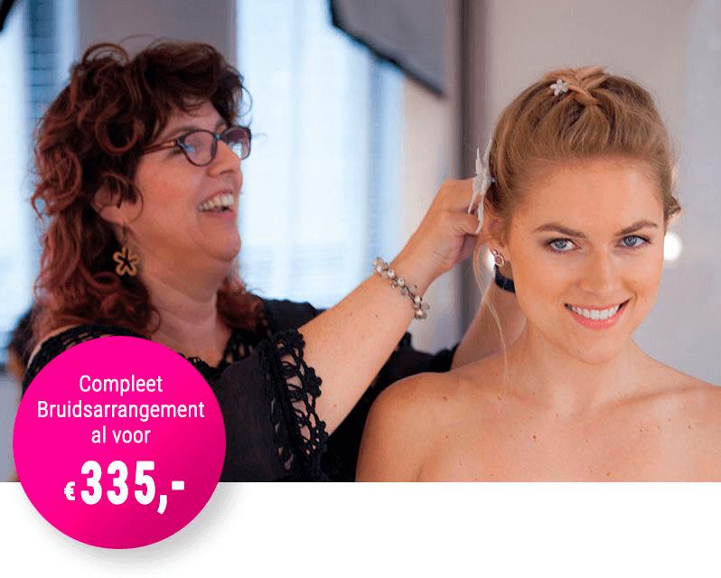 Volledig bruidsarrangement inclusief bruidsmake-up en haarstyling door Sandra van Uffelen voor 335 Euro