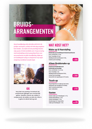 bruidsflyer Sandra van Uffelen bruids-visagie en haarstylling